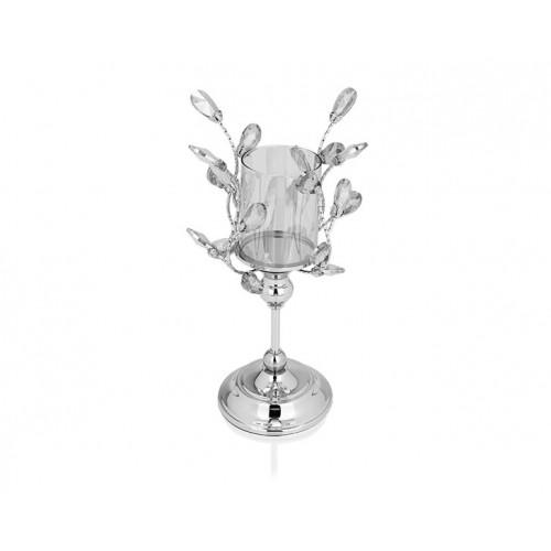 Porio PR14-1117 - Gümüş Kristal Şekilli Amber Camlı Mumluk 16*16*33