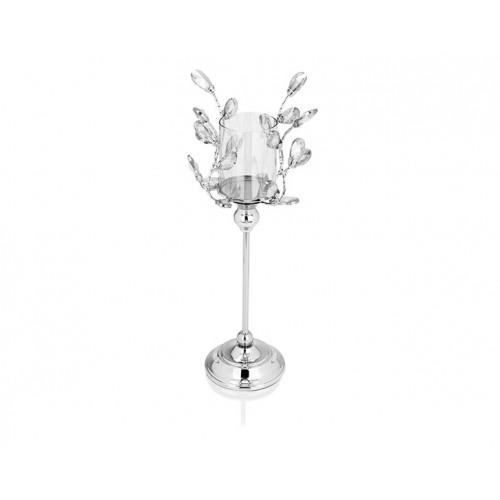 Porio PR14-1119 - Gümüş Kristal Şekilli Amber Camlı Mumluk 16*16*45