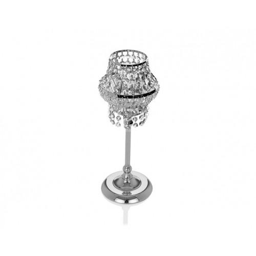 Porio PR14-1130 - Gümüş Kristal Mumluk 18*18*52