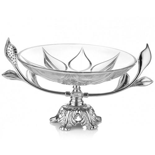 Porio PR16-1002 Gümüş Ayaklı Cam Meyvelik 43*33*23