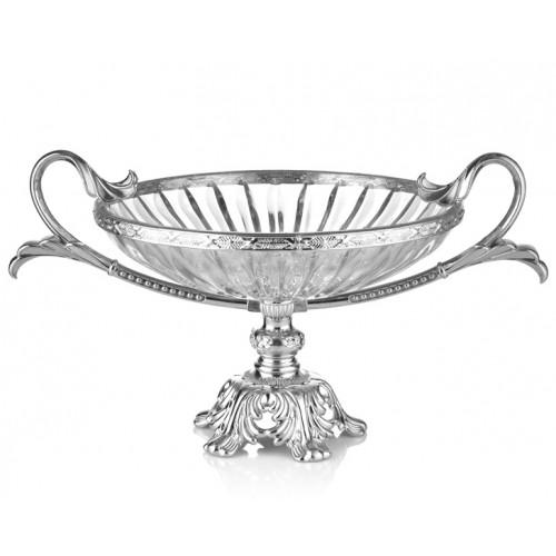 Porio PR16-1008 Gümüş Ayaklı Cam Meyvelik 48*31*24