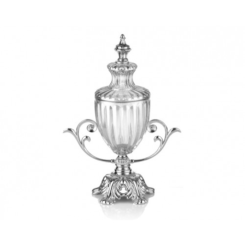 Porio PR16-1018 Gümüş Ayaklı Cam Kapaklı Şekerlik 27*13*35