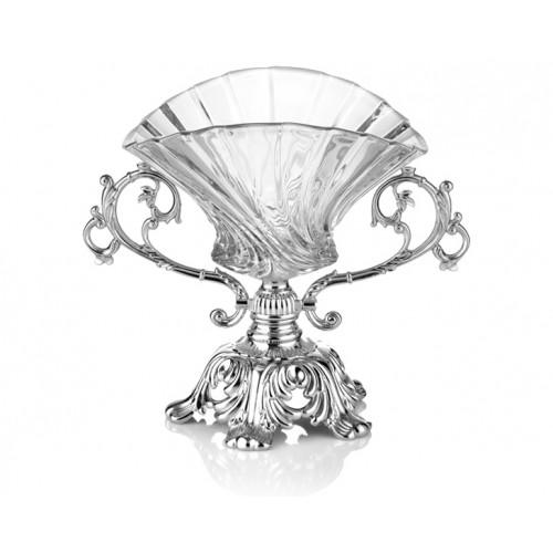 Porio PR16-1024 Gümüş Ayaklı Cam Derin Şekerlik 28*16*21