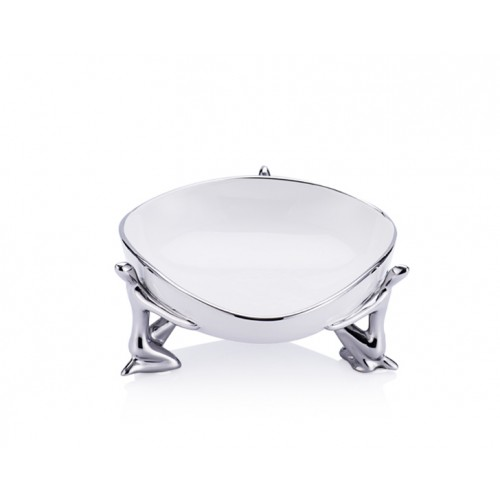 Porio PR20-1027 - Gümüş- Beyaz Seramik İnsan Figürlü Kase 18*17