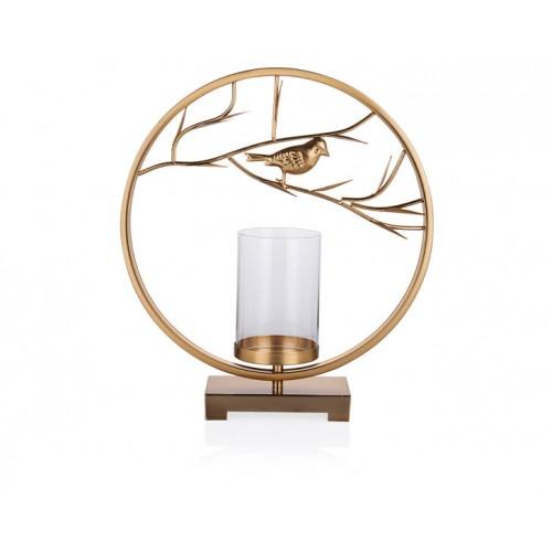 Porio PR23-1026 - Altın Kuş Şekilli Camlı Mumluk 38*9*43