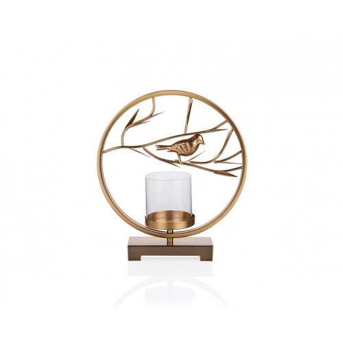 Porio PR23-1027 - Altın Kuş Şekilli Camlı Mumluk 31*9*35