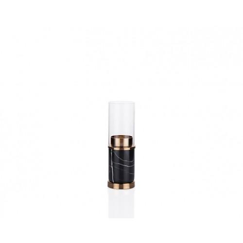 Porio PR23-1032 - Siyah Mermer Desenli Altın Üstü Cam Mumluk 6*6*19