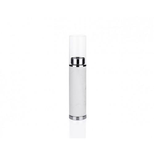Porio PR23-1033 - Beyaz Mermer Desenli Gümüş Üstü Cam Mumluk 6*6*27