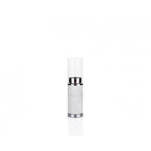 Porio PR23-1034 - Beyaz Mermer Desenli Gümüş Üstü Cam Mumluk 6*6*23