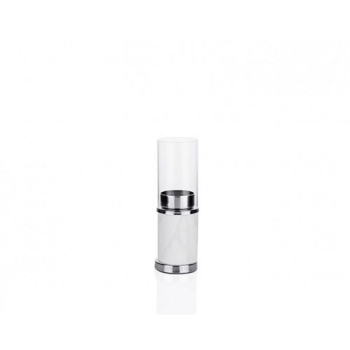Porio PR23-1035 - Beyaz Mermer Desenli Gümüş Üstü Cam Mumluk 6*6*19