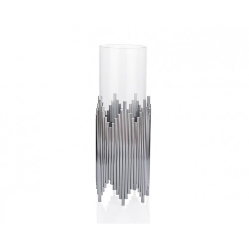 Porio PR23-1038 - Gümüş Çubuklu Üstü Cam Mumluk 12*12*31