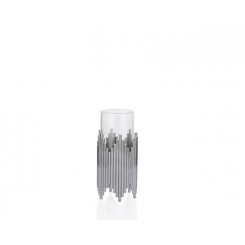 Porio PR23-1039 - Gümüş Çubuklu Üstü Cam Mumluk 12*12*38