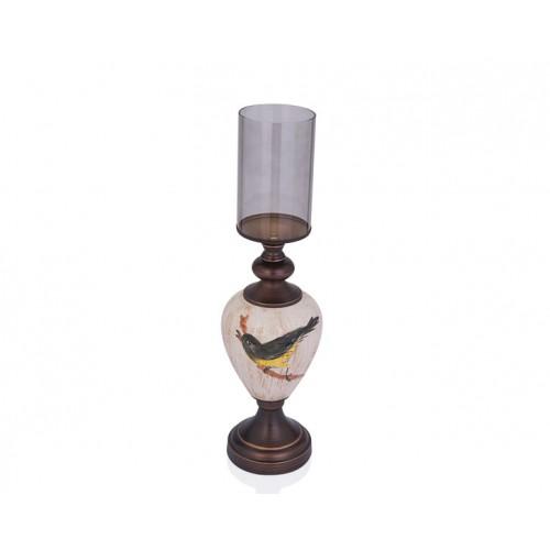 Porio PR29-1001 - Kuş Desenli Krem Rengi Üstü Cam Mumluk 14*52