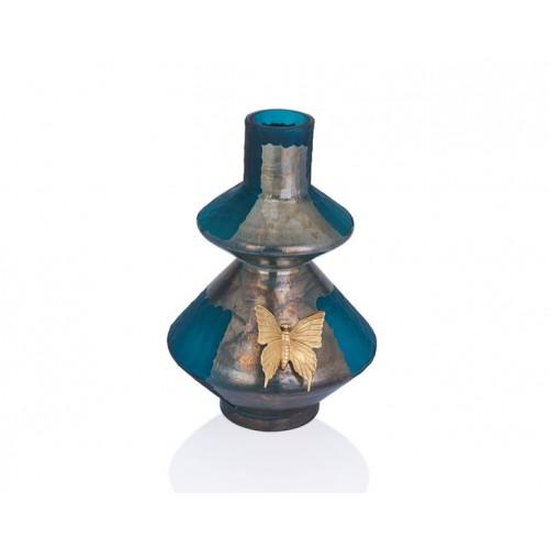 Porio PR29-1015 - Gümüş-Koyu Turkuaz Renk Altın Kelebekli Vazo 25*37
