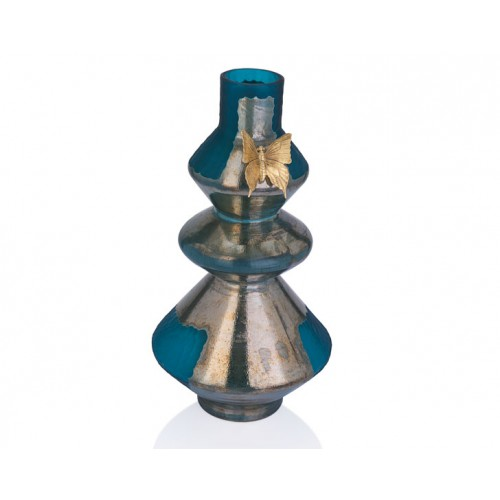 Porio PR29-1016 - Gümüş-Koyu Turkuaz Renk Altın Kelebekli Vazo 28*54
