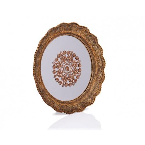 Porio PR32-1047 - Altın Dantel İşlemeli Yuvarlak Aynalı Tepsi 40*40