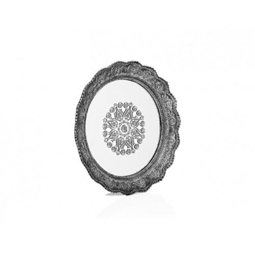 Porio PR32-1048 - Gümüş Dantel İşlemeli Yuvarlak Aynalı Tepsi 32*32