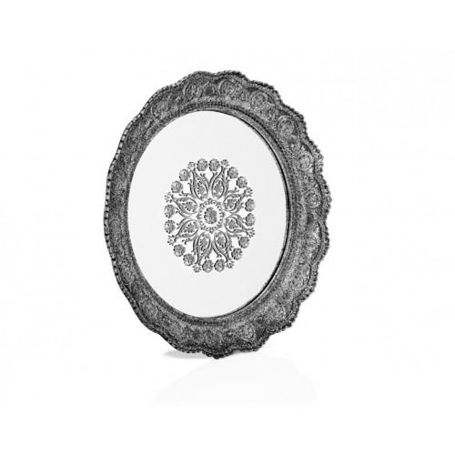 Porio PR32-1049 - Gümüş  Dantel İşlemeli Yuvarlak Aynalı Tepsi 40*40