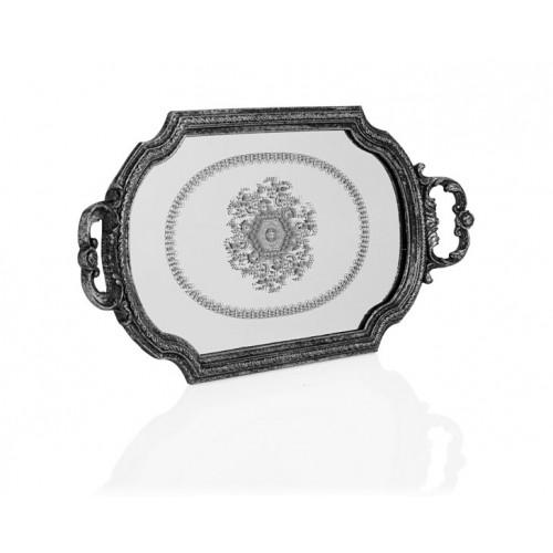 Porio PR32-1053 - Gümüş Kulplu Büyük Aynalı Tepsi 49*28