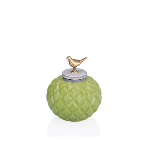 Porio PR33-1016 - Kuş Kulplu Yeşil Dekoratif Kavanoz 19*21