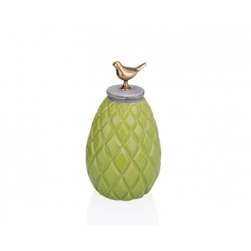 Porio PR33-1017 - Kuş Kulplu Yeşil Dekoratif Kavanoz 16*28