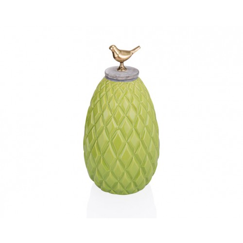 Porio PR33-1018 - Kuş Kulplu Yeşil Dekoratif Kavanoz 17*33