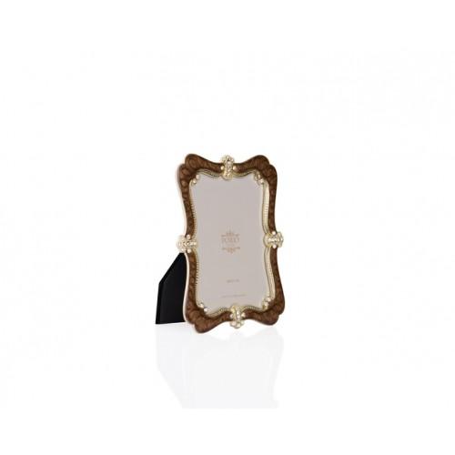 Porio PR34-1017 - Altın Taş İşlemeli Kahverengi Çerçeve 10*15