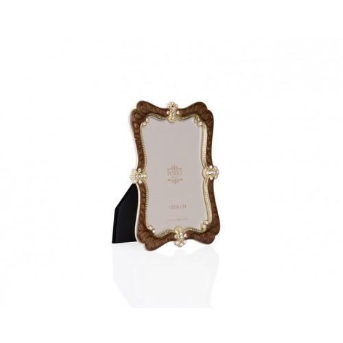 Porio PR34-1018 - Altın Taş İşlemeli Kahverengi Çerçeve  13*18