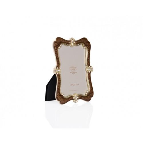 Porio PR34-1019 - Altın Taş İşlemeli Kahverengi Çerçeve 20*25