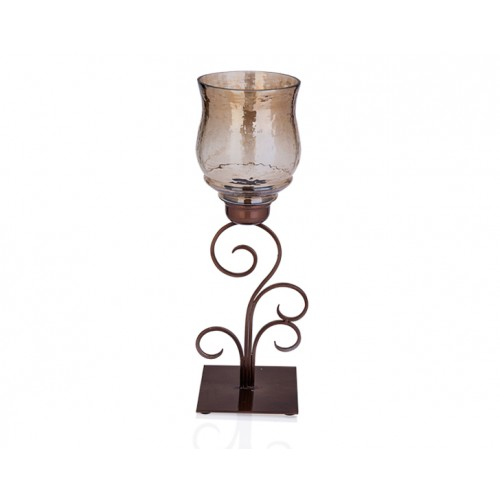 Porio PR37-1004 - Kahverengi Metal Üstü Cam Mumluk 16*16*44