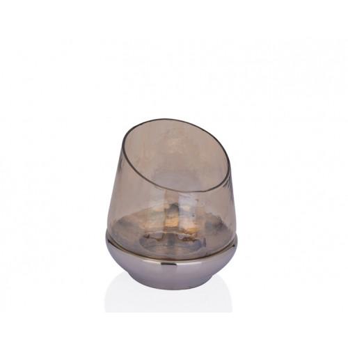 Porio PR37-1013 - Altı Gümüş Amber Cam Mumluk 16*16*17