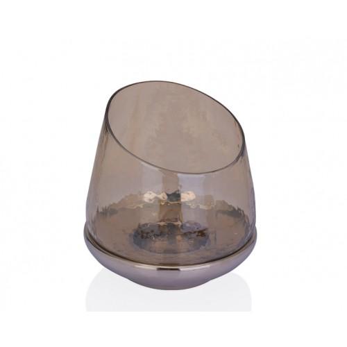 Porio PR37-1014 - Altı Gümüş Amber Cam Mumluk 23*23*24