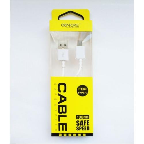 OCMORE Type-C USB Hızlı Şarj Destekli Şarj ve Data Kablo 100cm  Beyaz