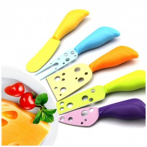5 Parça Renkli Peynir Bıçak Spatula Çatal Seti