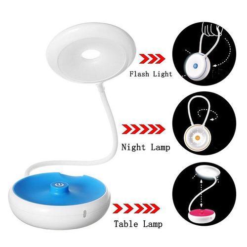 3 Kademe Işık Ayarlı 18 Ledli Pil USB Gece Masa Lambası El Feneri
