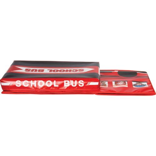 Eğlenceli Katlanabilir Oyuncak Saklama Kutusu School Bus Kırmızı