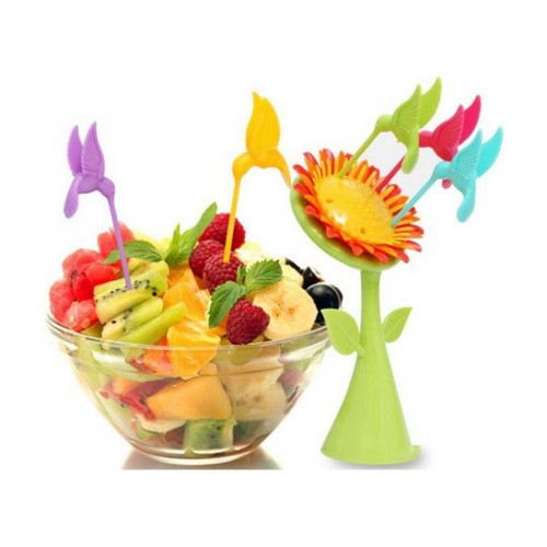 Plastik Ayçiçeği Stantlı Kuşlu 5 Adet Meyve Çatal Kürdan Seti