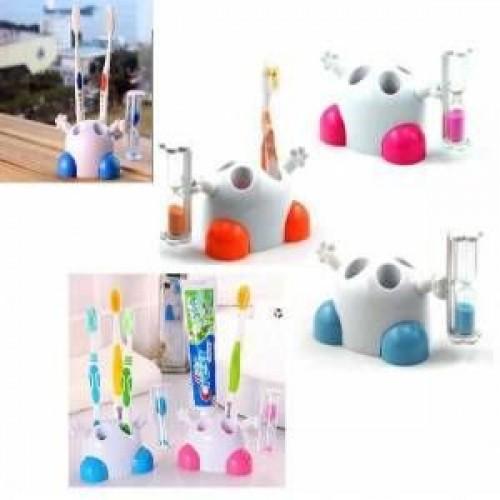 Sevimli ve Eğitici Kum Saatli 4 Hazneli Diş Fırçalık