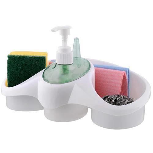 Ergonomik Oval Deterjan Hazneli Sıvı Sabunluklu Süngerlik Asorti