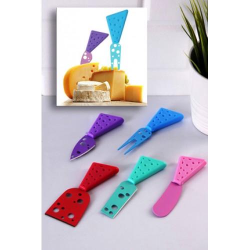 5 Parça Renkli Delikli Peynir Bıçak Spatula Çatal Seti
